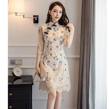 新式旗hy2020春jw式复古中国风女装优雅少女日常改良款连衣裙