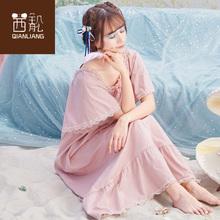 睡裙女hy季薄式纯棉wk码公主风家居服短袖2020新式睡衣女夏天