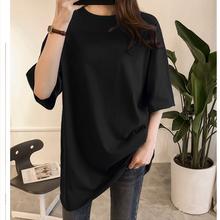 韩款夏hz果色加大码kk妹妹300斤宽松纯黑短袖T恤纯棉显瘦轻薄