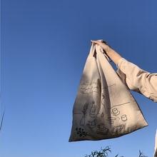 新式日hzchic棉yp风帆布袋女士包包 ins风女帆布包单肩手提包