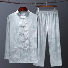 春夏中hz年唐装男薄yp套装中国风爸爸老的过寿生日爷爷装
