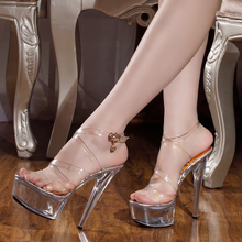 202hz夏季新式女ry5cm/厘米超 性感全透明水晶细跟凉鞋