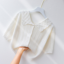 短袖thz女冰丝针织xq开衫甜美娃娃领上衣夏季(小)清新短式外套
