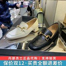 思加图2020新款奶油鞋hz9头低跟女dm鞋牛皮鞋休闲鞋9SC05AM0