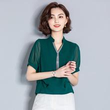 妈妈装hz装30-4hj0岁短袖T恤中老年的上衣服装中年妇女装雪纺衫