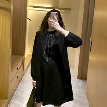 孕妇连hz裙2021wr国针织假两件气质A字毛衣裙春装时尚式辣妈