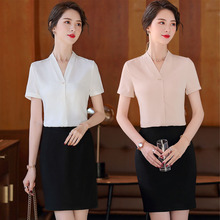 夏季短hz纯色女装修kr衬衫 专柜店员工作服 白领气质