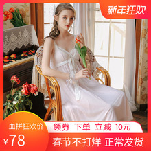 吊带睡hz女夏韩款性kr冰丝甜美可爱蕾丝长式无袖连衣裙带胸垫