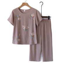 凉爽奶hz装夏装套装kr女妈妈短袖棉麻睡衣老的夏天衣服两件套