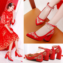 红鞋结hz鞋平跟中式gr粗跟孕妇大码舒适婚鞋女红色敬酒秀禾鞋