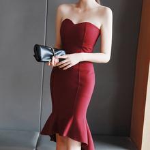 女2020新款性感hz6质修身晚rj鱼尾连衣裙优雅高贵