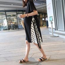 孕妇连hz裙时尚宽松nh式过膝长裙纯棉T恤裙韩款孕妇夏装裙子