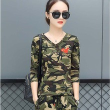 春秋迷i2长袖T恤上vm女休闲户外运动两件套套装水兵舞服军训
