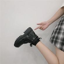 短靴女ia靴英伦风靴as020夏季薄式百搭厚底增高机车马丁靴ins