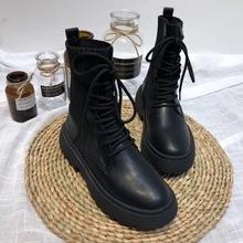 网红同ia真皮马丁靴as20新式靴子帅气百搭袜子靴舒适平底短靴潮