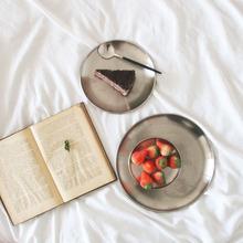 韩国iias金属磨砂ul北欧不锈钢圆形咖啡馆托盘甜品早餐(小)盘子