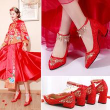 红鞋结ia鞋平跟中式ne粗跟孕妇大码蕾丝婚鞋女红色舒适秀禾鞋