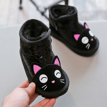 女童雪ib靴男宝宝亮er棉靴1-3岁婴儿学步鞋冬季卡通保暖短靴6