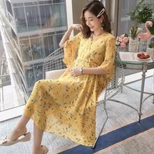 孕妇装ib天裙子20ah式时尚宽松V领雪纺长裙可哺乳孕妇连衣裙女