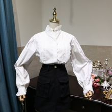 精致蕾ib花边拼接蝙ah泡袖上衣 (小)立领木耳边长袖女式白衬衣
