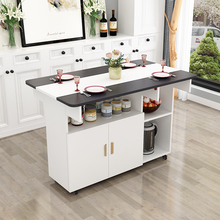简约现ic(小)户型伸缩nt易饭桌椅组合长方形移动厨房储物柜