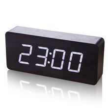 正品LED大字屏幕创意闹钟表静id12夜光电mied木头家用座台钟