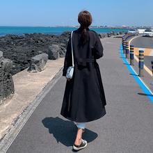 风衣女id020秋季mi行宽松学生卡其英伦风中长式春秋外套薄式女