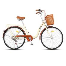 上海永id牌自行车单mi普通轻便学生成年复古变速26寸老式轻便