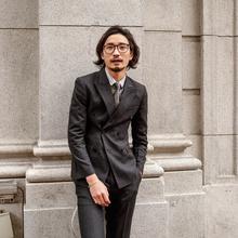 SOAidIN英伦风ar排扣西装男 商务正装黑色条纹职业装西服外套