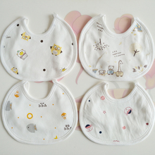 婴儿宝if(小)围嘴纯棉sf生宝宝口水兜圆形围兜春夏季双层