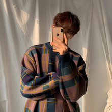 MRCigC男士冬季at衣韩款潮流拼色格子针织衫宽松慵懒风打底衫
