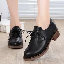 雪地意尔康ii2鞋202xy式休闲粗跟英伦风复古(小)皮鞋真皮单鞋女