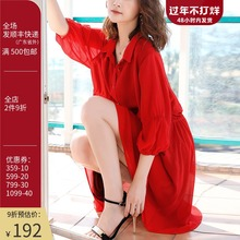 原创2il21新式桔oy大码红色衬衫裙子度假七分袖雪纺连衣裙春装