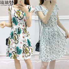 夏装2il20新式女ke棉绸连衣裙中长式学生可爱的造棉短袖碎花裙