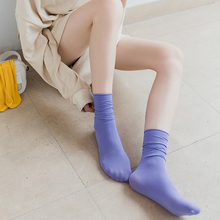 堆堆袜il女韩国冰冰ke薄式夏天鹅绒(小)腿袜黑色卷边长筒丝袜潮
