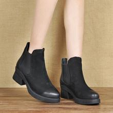 欧美时il秋冬新式女ve牛皮短靴女舒适马丁靴切尔西靴低筒靴子