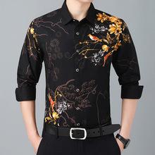 青年男il时尚花式长ve衬衫个性花鸟图案印花衬衣中国风非主流