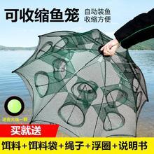 自动折im捕虾捕鱼笼ia虾笼鱼网渔网只进不出大号专用抓扑神器