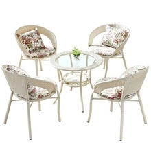 家用(小)im桌。藤椅三ac台办公室结实椅靠背椅藤艺吃饭喝茶