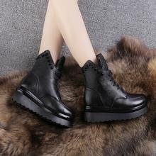 棉鞋女im糕跟真皮马ac绒女棉皮鞋厚底系带英伦骑士靴保暖女鞋