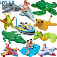 网红IinTEX水上re泳圈坐骑大海龟蓝鲸鱼座圈玩具独角兽打黄鸭