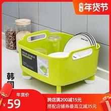韩国进口洗菜in3沥水篮塑ia大号厨房家用水槽洗水果盘洗菜篮