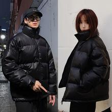 加厚棉in2020年rt短式羽绒棉服棉衣潮牌男士pu皮冬季外套面包