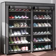 经济型简易门口双排鞋架子大容in11多层超er家用防尘布鞋柜