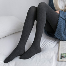 2条 in裤袜女中厚er棉质丝袜日系黑色灰色打底袜裤薄百搭长袜