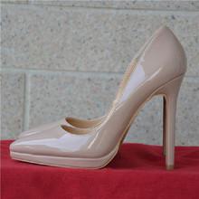 欧洲站in春式裸色防er跟鞋12cm浅口细跟单鞋漆皮尖头女鞋婚鞋