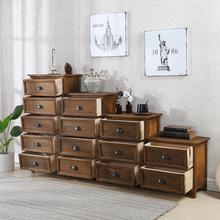 地中海in木床头柜简er收纳柜五斗柜做旧美式复古卧室客厅柜子