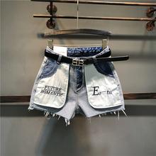 反面牛仔短裤in32021er尚刺绣口袋外漏反穿百搭热裤阔腿裤潮