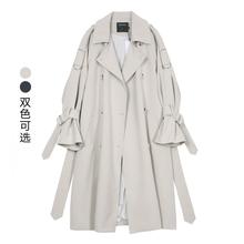 VEGin CHANcp女中长式2021新式韩款春季BF风宽松过膝休闲薄外套