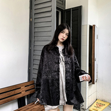 大琪 in中式国风暗he长袖衬衫上衣特殊面料纯色复古衬衣潮男女